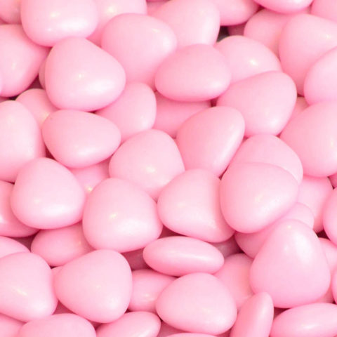 250g of Pink Heart Shaped Edible Dragees