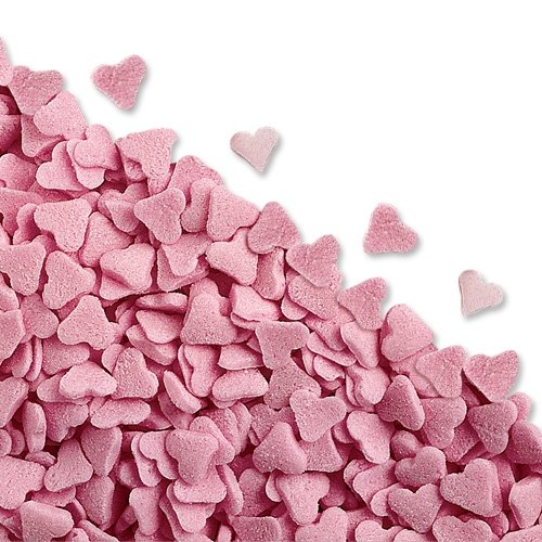50g Pink Heart Edible Sugar Sprinkles