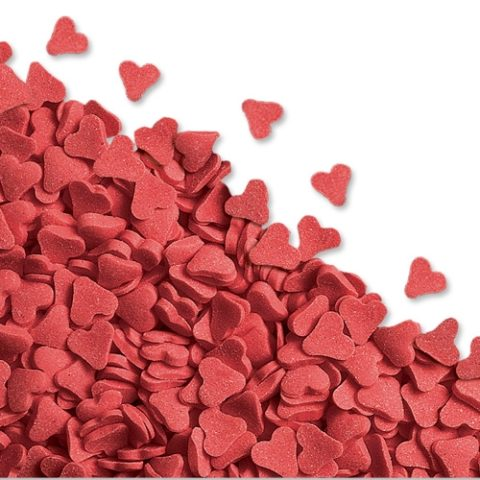 50g Red Heart Edible Sugar Sprinkles