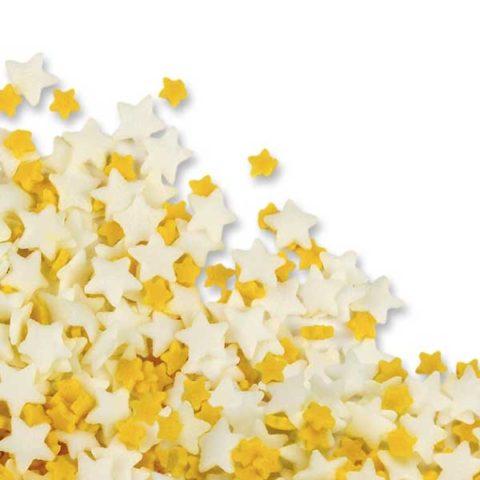 50g Yellow & White Edible Sugar Star Sprinkles