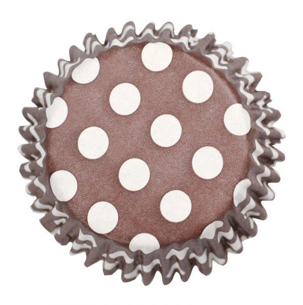 54 x Brown Polka Dot Cupcake Cases
