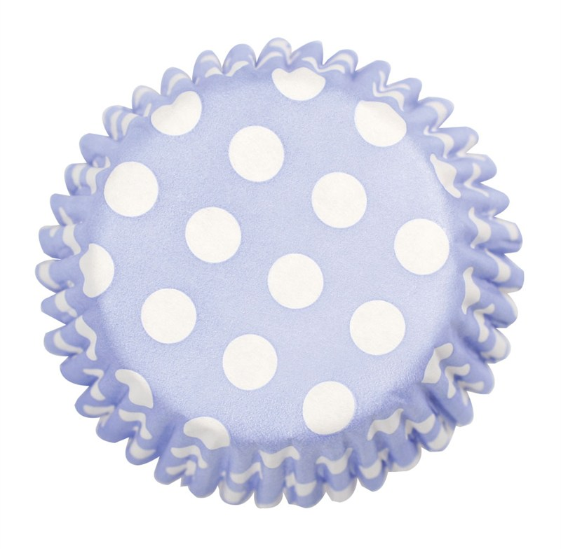 54 x Pale Blue Polka Dot Cupcake Cases
