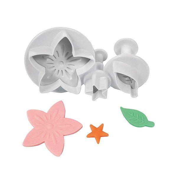 Cake Star Flower Leaf & Star Plunger Cutter - 3 Set