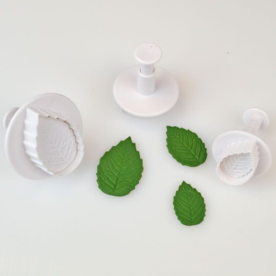 Cake Star Rose Leaf Plunger Cutters - Set of 3