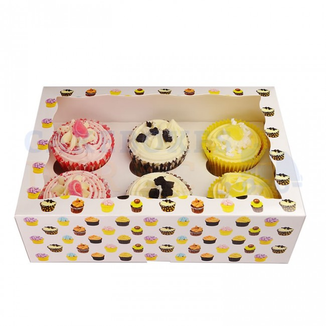 Cupcake patterned Cupcake boxes holds 6