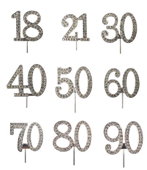 Diamante Cake Pick Birthdays Silver Numbers Cake Toppers