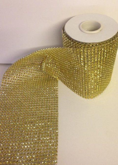 Gold Diamante Effect Ribbon Banding
