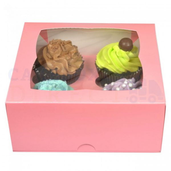 Pink Cupcake Boxes holds 4