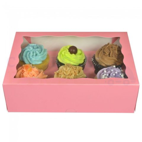 Pink Cupcake Boxes holds 6