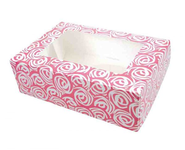 Pink Swirl Cupcake Boxes holds 6