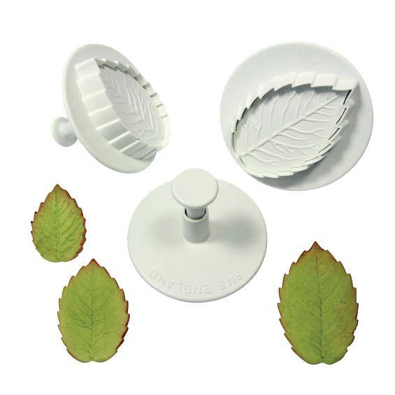 PME Large Rose Leaf Plunger Cutter/Veiner - Set of 3