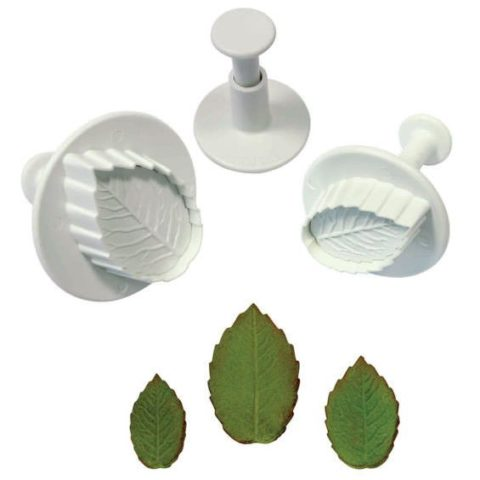 PME Small Rose Leaf Plunger Cutter/Veiner - Set of 3
