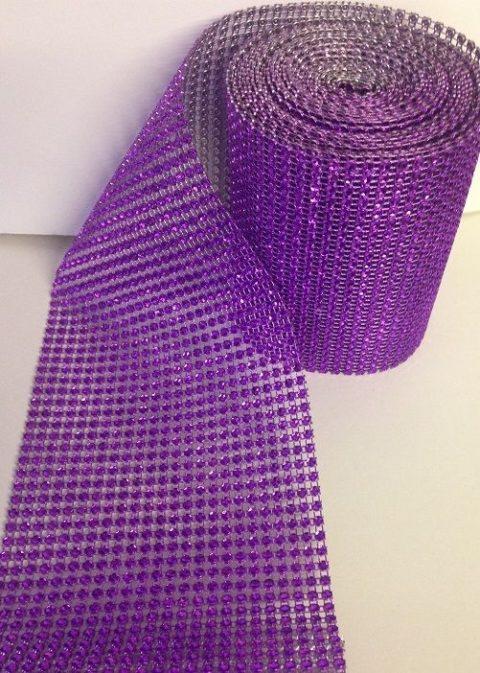 Purple Diamante Effect Ribbon Banding