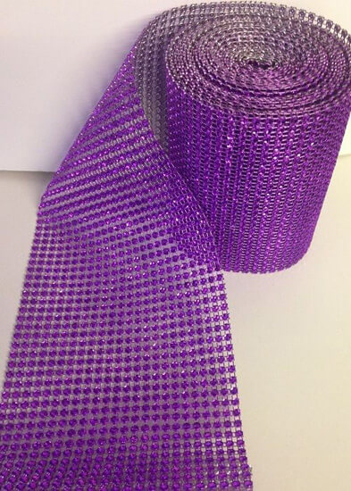 Purple Diamante Effect Ribbon Banding