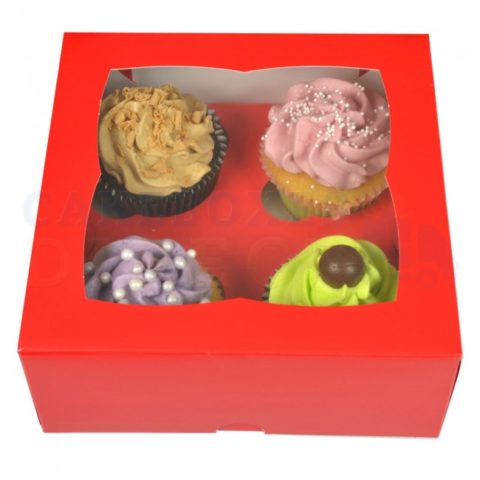 Red Cupcake Boxes holds 4