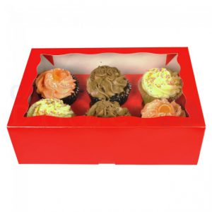 Red Cupcake Boxes holds 6