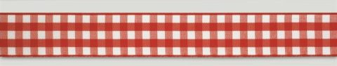 Red Gingham Ribbon - 25mm x 25m