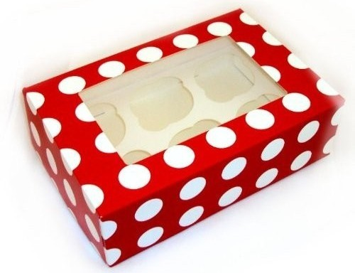 Red Polka Cupcake boxes holds 6