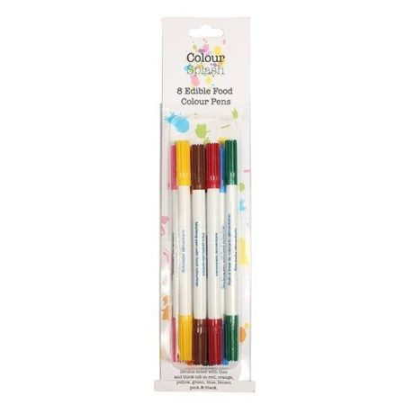 Set of 8 Colour Splash Edible Double Ended Food colour Writing Pens