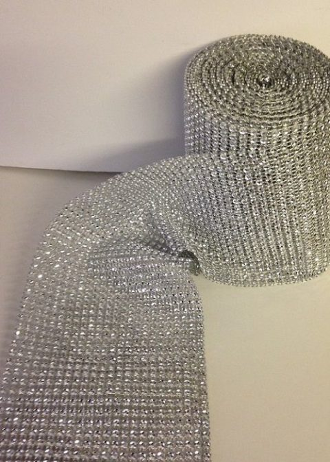 Silver Crystal Diamante Effect Ribbon Banding
