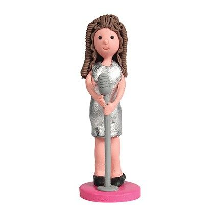 Silver dressed Pop Star Girl Cake Topper